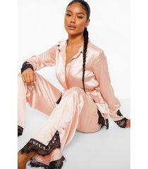 kanten satijnen wikkel pyjama set met broek, rose gold