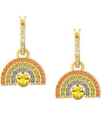 swarovski gold-tone multicolor pave rainbow charm convertible huggie hoop earrings