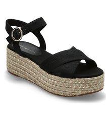 th signature flatform sandal sandalette med klack espadrilles svart tommy hilfiger