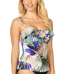 island escape palm springs tahiti printed ruffled tankini, created for macy's women's swimsuit