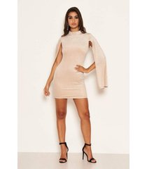 ax paris women's high neck split sleeve sparkle mini dress