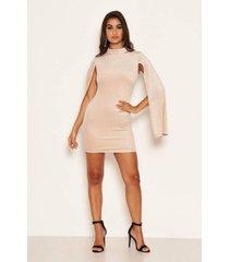 ax paris women's high neck split sleeve sparkle mini dress