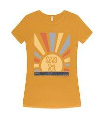 lez a lez - t-shirt estampada seja sol amarelo gen z