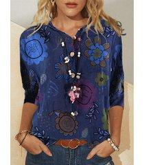 camicetta da donna con colletto rovesciato a maniche lunghe stampata a fiori