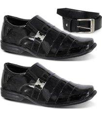kit 2 pares sapato social infantil e 1 cinto leoppé verniz - masculino