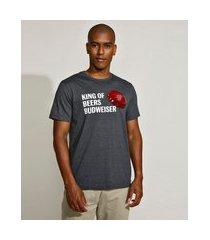 camiseta masculina básica budweiser manga curta gola careca cinza mescla escuro