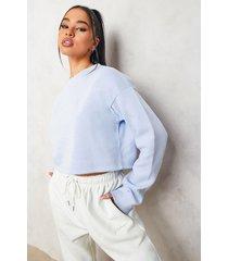woman korte geborduurde sweater, light blue
