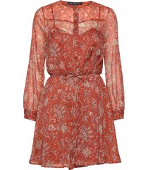 esi crinkle printed dress kort klänning röd french connection