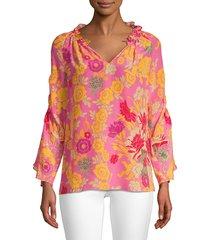 kobi halperin women's jenna floral silk blouse - blossom - size xs