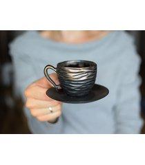 filiżanka espresso czerń i złoto 75 ml