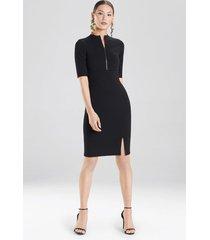 compact knit zipper front dress, women's, black, size 8, josie natori