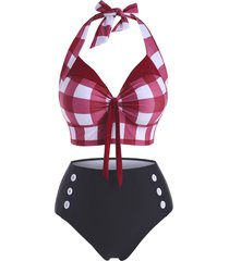 plus size checkered tied halter mock button tankini swimwear