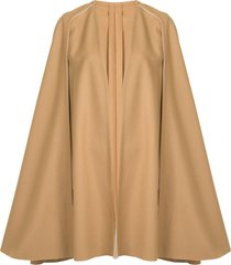 carolina herrera draped wool cape - brown