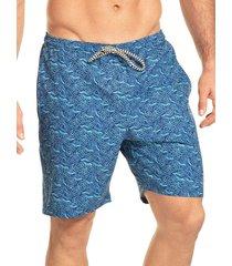 pantaloneta verano silueta larga hawai para hombre-azul