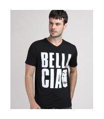 """camiseta masculina la casa de papel bella ciao"""" manga curta gola careca preta"""""""