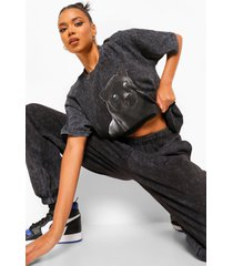 acid wash panther print oversized t-shirt, charcoal