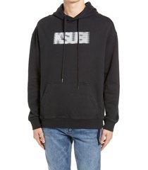 men's ksubi bitmap biggie men's hooded sweatshirt, size x-large - black