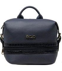bolsa mochila de couro recuo fashion bag azul/croco