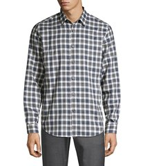 theory men's irving betton plaid shirt - crimson multi - size s