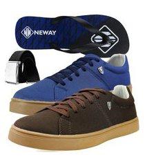 kit sapatenis casual neway sw masculino café + azul + 1 chinelo neway + 1 cinto
