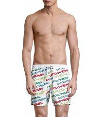 emporio armani men's logo-print boxer-style swim trunks - white multi - size xxl