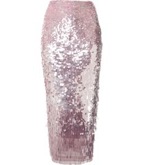 rachel gilbert slim fit sequin-embellished skirt - pink