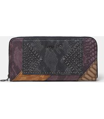 texture leather effect wallet - brown - u