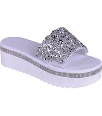 sandalias de plataforma con punta abierta blanco enrico coveri rlysa glitter
