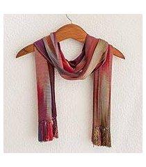 rayon chenille scarf, 'solola fireworks' (guatemala)