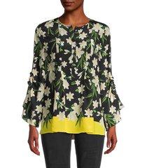 kobi halperin women's floral bell-sleeve silk blouse - black multi - size xs