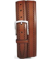 men's allen edmonds manistee brogue leather belt, size 30 - walnut