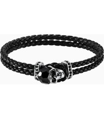 braccialetto taddeo, pelle, nero, placcatura in palladio