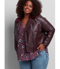 lane bryant women's faux-leather moto jacket with removable faux-fur collar 26 burgundy