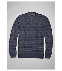 reserve collection cotton & silk blend fair isle v-neck men's sweater clearance