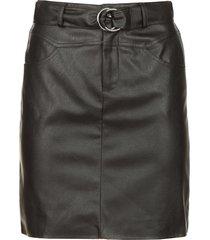 faux leather rok met ceintuur brases  zwart