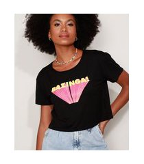 "camiseta feminina cropped bazinga!"" the big bang theory manga curta decote redondo preta"""