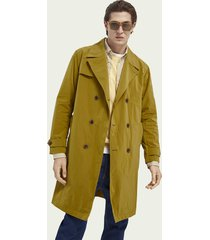 scotch & soda double-breasted lange trenchcoat