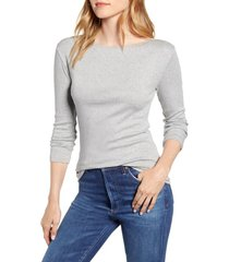 women's caslon three quarter sleeve tee, size medium - grey