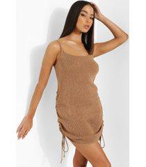 geplooide gebreide jurk, camel