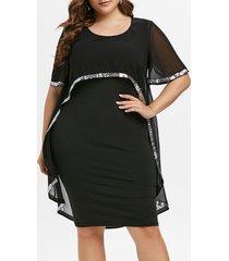 sequins plus size mesh overlay bodycon chiffon work dress