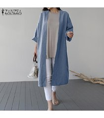 zanzea resorte de las mujeres capa larga cardigan abrigos abrigo holgado flojo caliente -azul