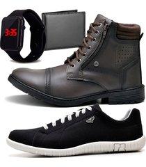 2 pares bota coturno adventure e sapatênis casual com carteira e relógio led zaru 560-900mr preto