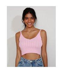 top cropped feminino de tricô canelado alça fina decote v rosa claro