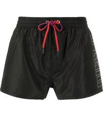 diesel logo print swim shorts - black