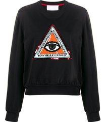 no ka' oi beaded embroidery sweatshirt - black