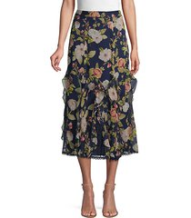 uma floral & lace midi skirt