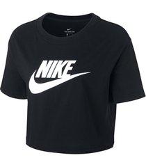 t-shirt korte mouw nike essential icon top crop ss women