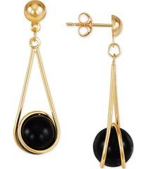 onyx wire wrap drop earrings in 10k gold