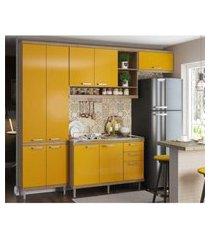 cozinha compacta completa multimóveis com 4 peças sicília 5840 argila/amarelo