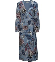 begonia wrap dress ms18 maxi dress galajurk blauw gestuz